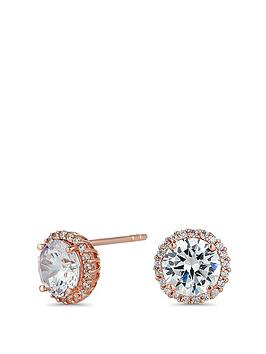 Simply Silver Simply Silver 14Ct Rose Gold Plate Halo Studs Picture