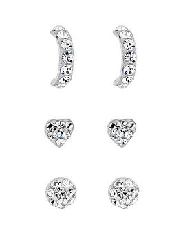 Simply Silver Simply Silver Silver Crystal Stud Trio Pack Picture