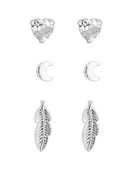 Simply Silver Simply Silver Leaf Three Pack Earrings Picture