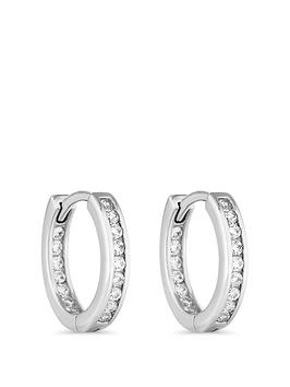 Simply Silver Simply Silver Channel Set Hoop 15Mm Earrings Picture