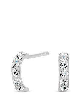 Simply Silver Simply Silver Sterling Silver Pave Half Hoop Earrings Picture