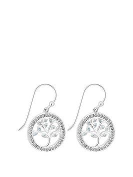 Simply Silver Simply Silver Swarovski Tree Of Life Blue Drop Earrings Picture