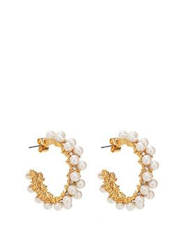 Mood Mood Gold Plated Pearl Encrusted Hoop Earrings Picture