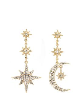 Mood Mood Gold Plated Mix And Match Stars And Moon Drop Earrings Picture