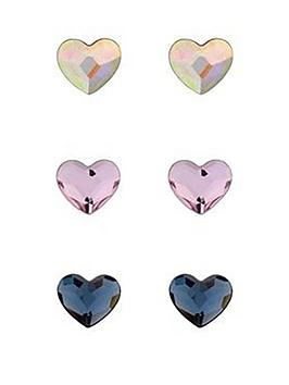 Simply Silver Simply Silver Swarovski Hearts Three Pack Stud Earrings Picture
