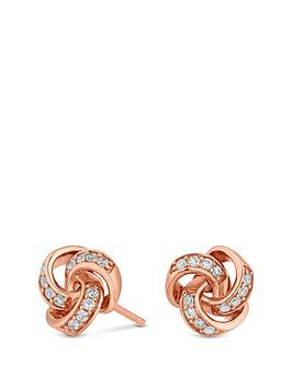 simply-silver-rose-gold-cubic-zirconia-knot-stud-earrings