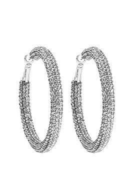 Mood Mood Crystal Pave Tube Hoop Earrings Picture