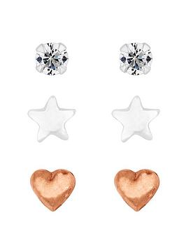 Simply Silver Simply Silver Three Pack Stud Earrings Picture