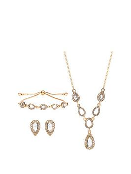 Jon Richard  Gold Pear Pave Trio Jewellery Set