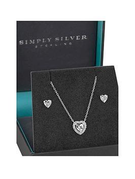 simply-silver-halo-heart-jewellery-set