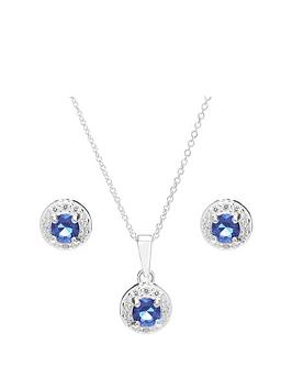 Simply Silver Simply Silver Blue Cubic Zirconia Halo Jewellery Set Picture