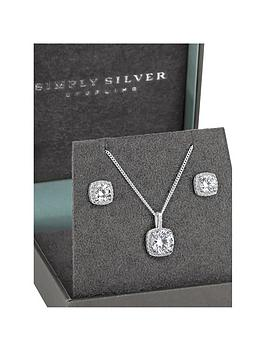 Simply Silver Simply Silver Square Halo Jewellery Set Picture