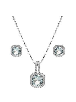 Jon Richard Jon Richard Aqua Square Drop Pendant And Earring Set Picture