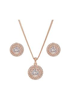jon-richard-rose-gold-double-halo-pendant-and-earring-set