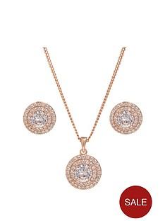 jon-richard-rose-gold-double-halo-pendant-and-earring-set