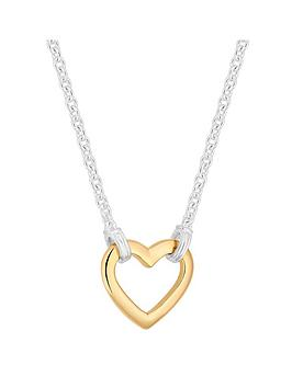 Simply Silver Simply Silver Two Tone Open Heart Pendant Picture