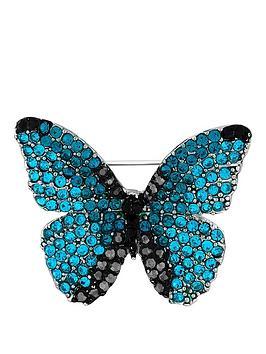 Jon Richard Jon Richard Blue Aqua And Jet Pave Butterfly Brooch Picture