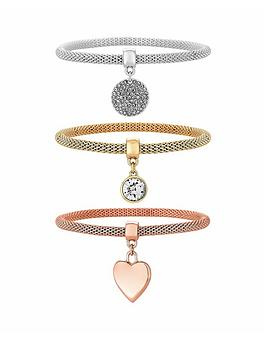 Mood Three Pack Mesh Bracelets With Charms