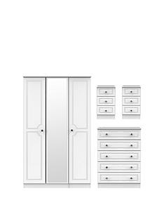swift-clarence-4-piece-part-assembled-package-3-door-mirrored-wardrobe-5-drawer-chest-and-2-bedside-chests