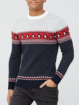 very-man-family-christmas-fairisle-knit-jumper-multinavynbsp