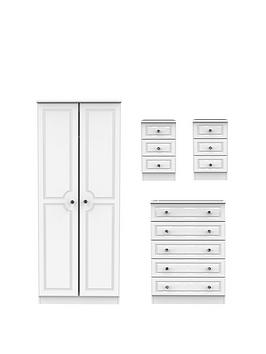 Swift Swift Clarence 4 Piece Ready Assembled Package - 2 Door Wardrobe, 5  ... Picture