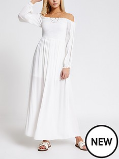 river-island-bardot-shirred-top-maxi-dress-white