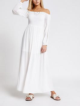 River Island River Island Bardot Shirred Top Maxi Dress - White Picture