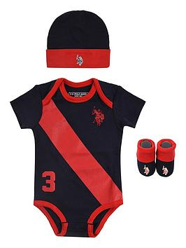 U.S. Polo Assn. U.S. Polo Assn. Baby Boys Players Bodysuit, Hat And  ... Picture