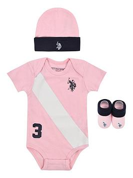 U.S. Polo Assn. U.S. Polo Assn. Baby Girls Players Bodysuit, Hat And  ... Picture