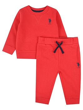 U.S. Polo Assn. U.S. Polo Assn. Baby Boys Player Crew Sweat Set - Red Picture