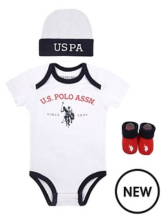 us-polo-assn-baby-unisex-uspa-bodysuit-hat-and-booties-gift-set-white