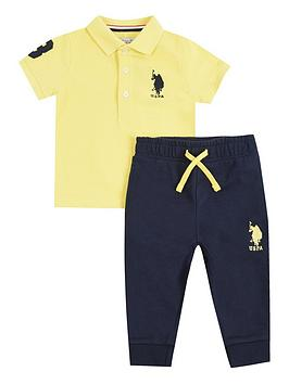 U.S. Polo Assn. U.S. Polo Assn. Baby Boys Player Polo And Jog Set - Yellow Picture