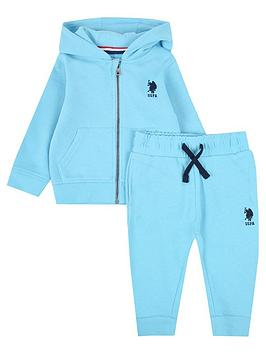 U.S. Polo Assn. U.S. Polo Assn. Baby Boys Core Zip Through Sweat Set - Aqua Picture