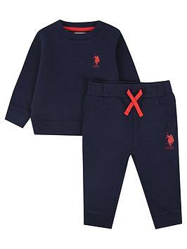 U.S. Polo Assn. U.S. Polo Assn. Baby Boys Player Crew Sweat Set - Navy Picture