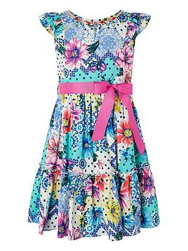 Monsoon Monsoon Girls Blue Floral Spot Printed Dress - Blue Picture