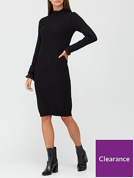 v-by-very-mesh-high-neck-knitted-dress-black