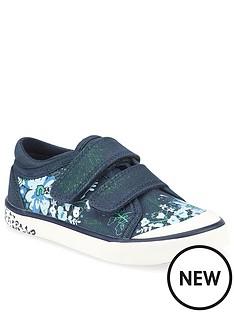 start-rite-girls-flower-canvas-strap-plimsoll-navy