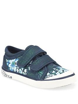 Start-Rite Girls Flower Canvas Strap Plimsoll - Navy