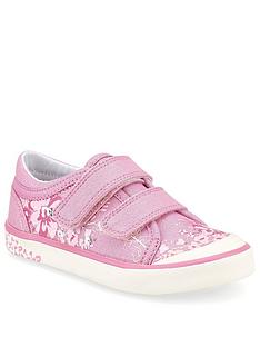 start-rite-girls-flower-glitter-canvas-strap-plimsoll-pink