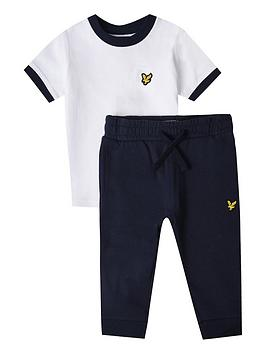 Lyle & Scott  Toddler Boys T-Shirt And Jog Pant Set - White Navy