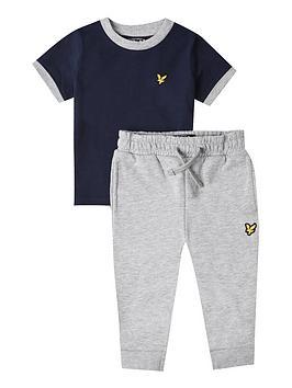 Lyle & Scott Toddler Boys T-Shirt And Jog Pant Set - Navy Grey
