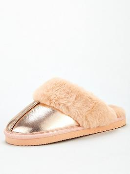 v-by-very-waldas-shimmer-faux-fur-lined-mule-rose-gold