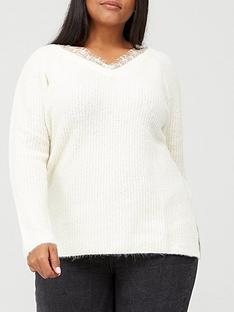 v-by-very-curve-lace-trim-knitted-jumper-cream