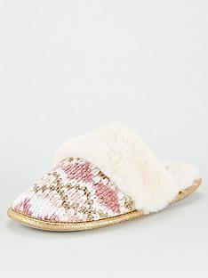 v-by-very-walda-faux-fur-lined-chenille-mule-pink