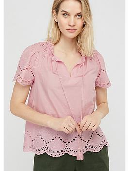Monsoon Monsoon Suzie Schiffli Organic Cotton Boho Top - Pink Picture