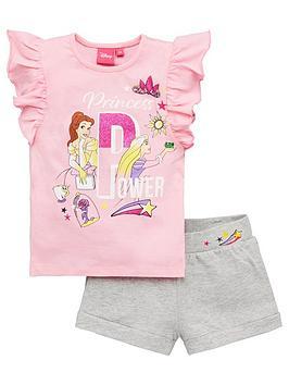 Disney Princess  Girls Princess Power Glitter Top And Short Set - Pink