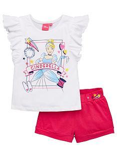 disney-princess-girlsnbspcinderella-frill-top-and-short-set-white