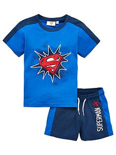 superman-boysnbspside-stripe-top-and-short-set-blue