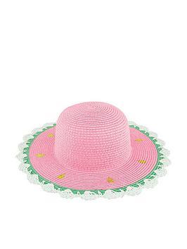 Monsoon   Girls Jess Watermelon Floppy Hat - Multi