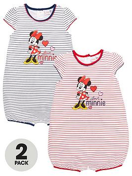 Minnie Mouse   Baby Girl  2 Pack Stripe Romper - Multi